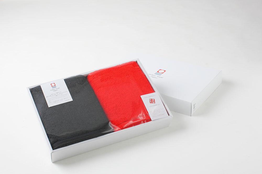 赤x黒 スポーツタオルセット(今治タオル)